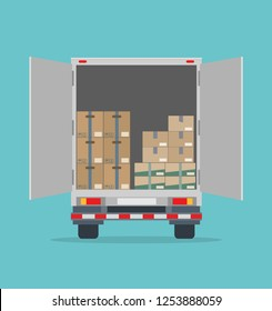 Open delivery truck with cardboard boxes. Isolated on blue background. Transport services, logistics and freight of goods. Flat style, vector illustration.