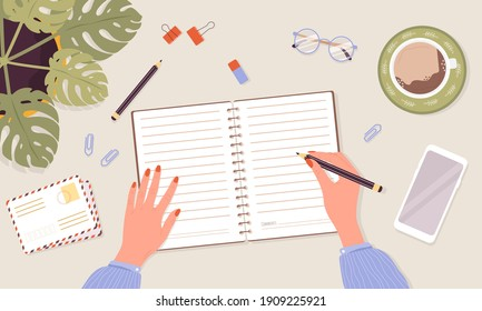 Open diary, planner or notebook concept. Woman write journal. Top view workplace with lists, reminders, schedules or agendas. Planning and organization. Vector illustration in flat cartoon style.