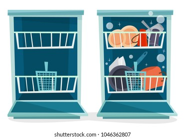 Open dishwasher with dishes. Flat cartoon style vector illustration.