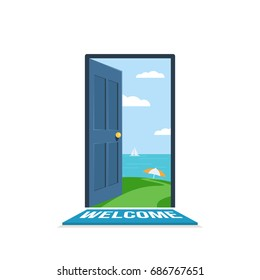 Open door. Beautiful path to beach. Seascape with a sailboat in the open sea. Concept of tourism and travel. Vector illustration in flat isolated on white background style for the Wed banner or poster