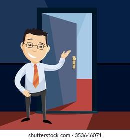 Open door to career. Happy man invites to new job. Looking for a new employee. Cartoon flat vector simple illustration.