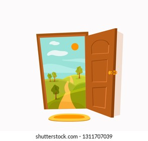 Open door cartoon colorful vector illustration with valley summer sun landscape with road, trees green field.