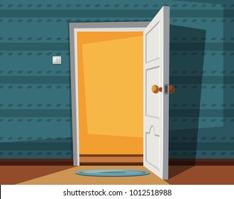 Open door. Cartoon vector illustration. Inside of home