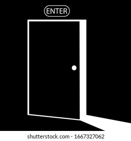 open door, entrance, light icon in white color, isolated on black background. EPS 10 vector.