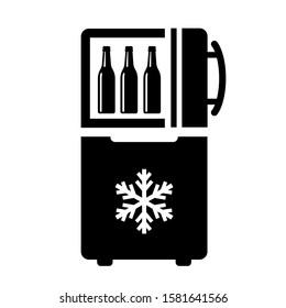 Open door fridge vector icon isolated on white background