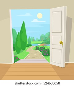 Open door to garden. Vector cartoon illustration