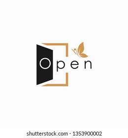 Open door .open health. open logo deep meaning, simple logo vector illustration