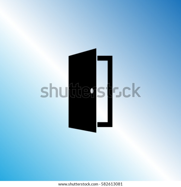 Open door icon, exit vector illustration