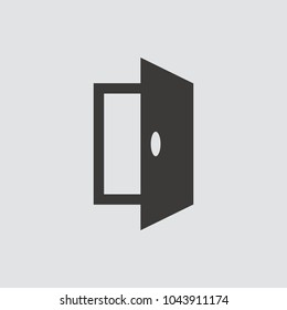 Open door icon isolated of flat style. Vector illustration.