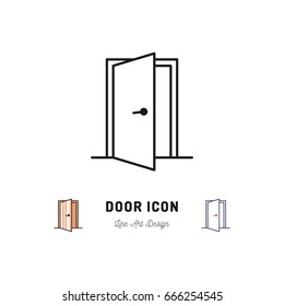Open Door icon, Vector thin line art symbol