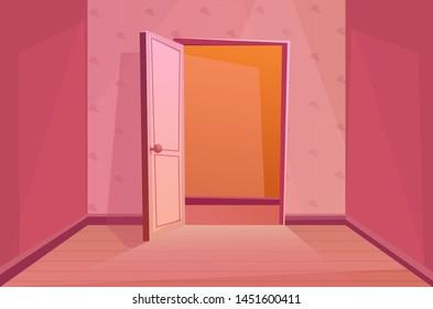 Open door. Indoors. Entering the room. Cartoon vector illustration in pink colors.