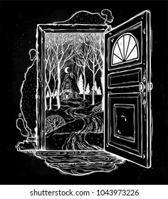 Open door into a nature. Hand drawn doorway with wood cabin, winter forest landscape. Vector illustration isolated. Magic outdoors wilderness badge. Adventure artwork for travel and wanderlust tattoo.