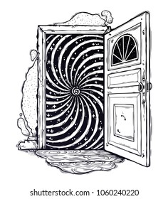 Open door into a realm of imagination or a dream with vortex hypnotic swirl, looking into subconsious. Isolated vector illustration. Surreal hippie art, sticker, tattoo.