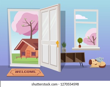 Open door into spring landscape view with blooming trees. Flat cartoon vector illustration. Trees with round crown under blue sky. Hallway interior with window overlooking suburb with old house