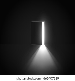 Open door with light going through it. Dark room.