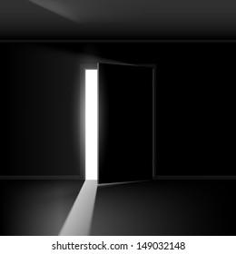 Open door with light. Illustration on empty background