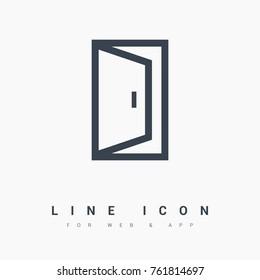 open door line vector icon
