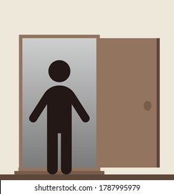 An open door and a person.