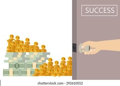 Open the door to pile of money. Success Business. Vector Illustration