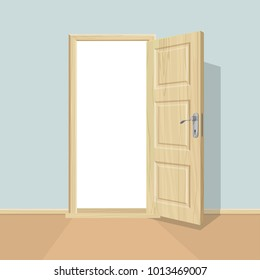 Open door. Realistic wooden door.