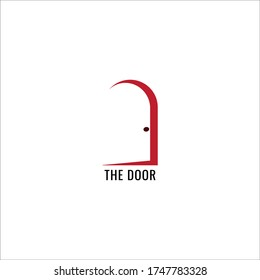 An open door silhouette logo concept isolated on white background. Suitable for service companies such as hotels, lodging and the like.
