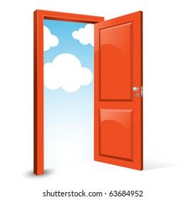 open door with sky background