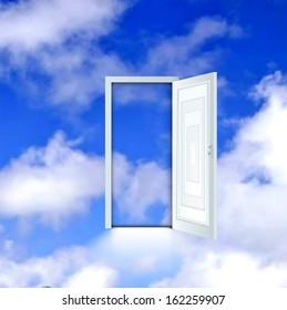 Open door to the sky. Vector