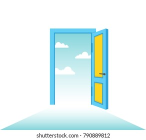 Open door with sky. Vector illustration.