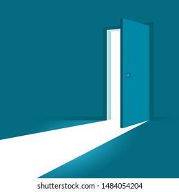 Open door. Symbol of new career, opportunities, business ventures and initiative. Business concept. Vector illustration