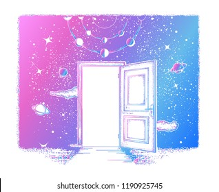 Open door tattoo. Symbol of imagination, creative idea, motivation, new life. Open door in universe t-shirt design. Surreal art