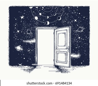 Open door tattoo. Symbol of imagination, creative idea, motivation, new life. Open door in universe t-shirt design. Surreal art.