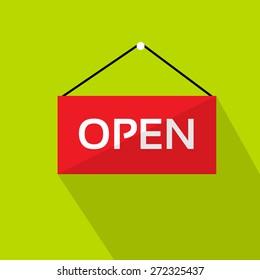 Open Door Text Sign Red Shop Label over Green Background Flat Vector Illustration