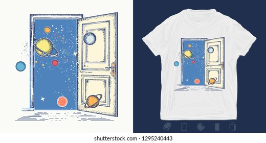 Open door in universe. Print for t-shirts and another, trendy apparel design. Symbol of imagination, creative idea, motivation, new life
