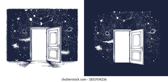 Open door in universe tattoo. Symbol of imagination, creative idea, motivation, new life. T-shirt design. Surreal art. Black and white vector graphics