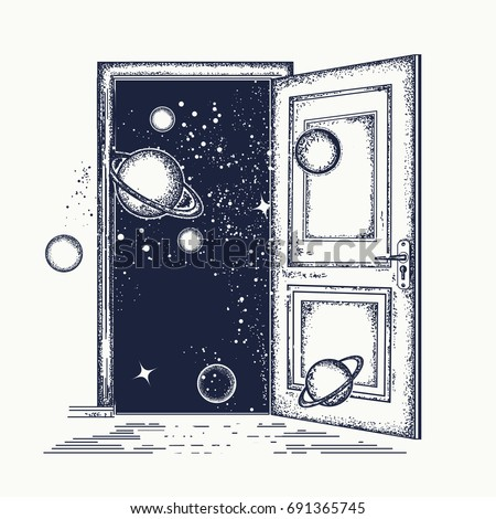 Open door in universe tattoo. Symbol of imagination, creative idea, motivation, new life. Surreal art