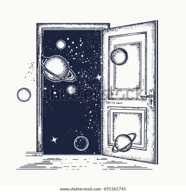 Image Vectorielle De Stock De Open Door Universe Tattoo Symbol