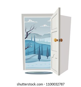 Open door. Valley landscape. Cartoon vector illustration. Vintage poster. Welcome to winter