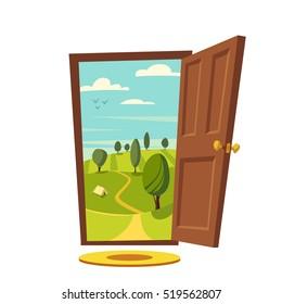 Open door. Valley landscape. Cartoon vector illustration. Vintage poster. Welcome to real  sc 1 st  Shutterstock & Cartoon Door Images Stock Photos u0026 Vectors | Shutterstock