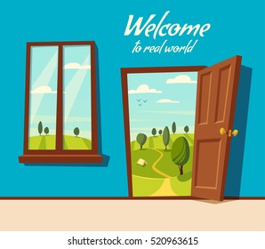 Open door. Valley landscape. Cartoon vector illustration. Vintage poster. Welcome to real world. Retro style. View from the window