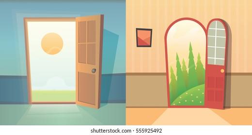 Open Front Door House Stock Illustrations Images Vectors