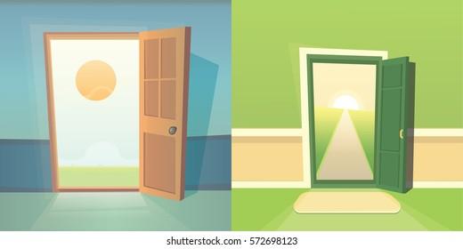 Open door vector collection. set of cute doors. Dreams comes true. Cartoon exit and summer
