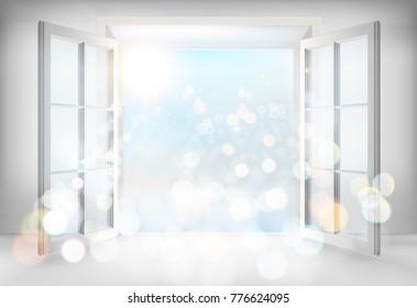 Open door. Vector illustration.