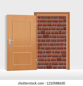 Open door, but walled up with bricks. Symbol for being hopeless, trapped, jailed or banished, and for captivity, obstruction, barricade, barrier and blockade.