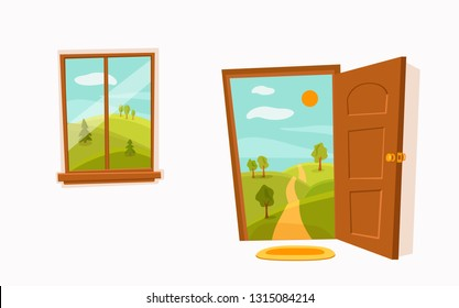 Open door window cartoon colorful vector illustration  valley summer sun landscape with road, trees green field. House apartment entrance corridor flat design. Home exit interior view freedom conc