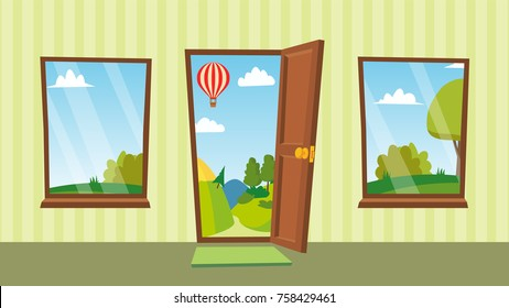 Open Door And Windows Vector. Cartoon Landscape. Front View. Home Interior. Flat Isolated Illustration.