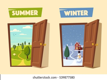 Open door. Winter and summer. Valley landscape. Cartoon vector illustration. Vintage poster. Retro style