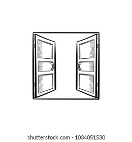 Open doors hand drawn outline doodle icon. Access vector sketch illustration for print, web, mobile and infographics isolated on white background.