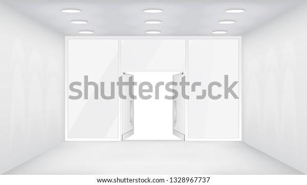 Open Doors Store Interior Shop 3d Stock Vector (Royalty Free