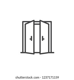 Open double door outline icon. linear style sign for mobile concept and web design. Exit doorway simple line vector icon. Pull door symbol, logo illustration. Pixel perfect vector graphics