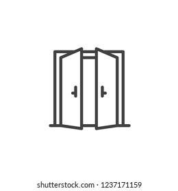 両開きドアの輪郭アイコン。モバイルコンセプトとウェブデザイン用の線形スタイル記号。出口出入り口の単純な線のベクター画像アイコン。引き戸のシンボル、ロゴイラスト。ピクセルの最適なベクター画像